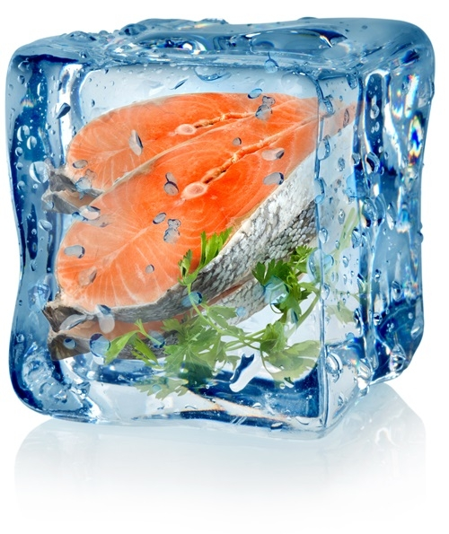 Ice cube and fish with parsley