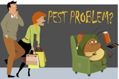 Shocked couple caught a giant cockroach sitting in a chair in their house, eating, drinking and watching TV, as a metaphor for a pest problem, EPS 8 vector illustration